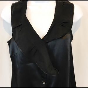 Theory Silk Black Button Shawl Collar Blouse